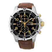 Seiko® Mens Brown Leather Strap Solar Chronograph Watch SSC309