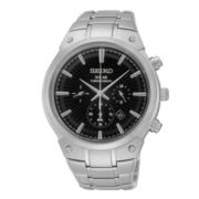 Seiko® Mens Stainless Steel Solar Chronograph Watch SSC317