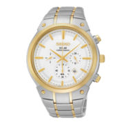 Seiko® Mens Two-Tone Stainless Steel Solar Chronograph Watch SSC318