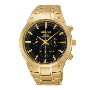 jcpenney.com | Seiko® Mens Gold-Tone Stainless Steel Solar Chronograph Watch SSC320