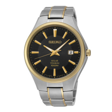 jcpenney.com | Seiko® Mens Two-Tone Titanium Solar Watch SNE382