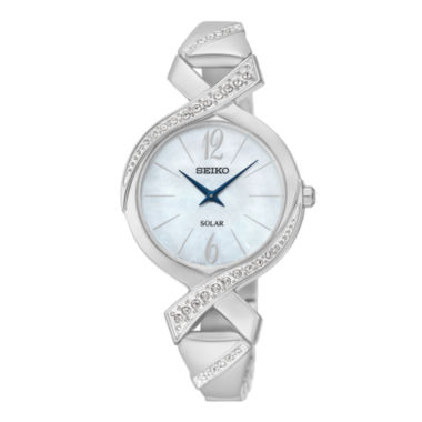 jcpenney.com | Seiko® Womens Crystal-Accent Stainless Steel Solar Bangle Watch SUP263