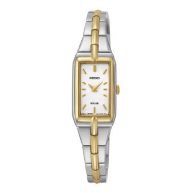 jcpenney.com | Seiko® Womens Silver-Tone Dial Two-Tone Stainless Steel Solar Watch SUP272