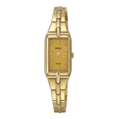 jcpenney.com | Seiko® Womens Champagne Dial Gold-Tone Stainless Steel Solar Watch SUP276