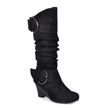 jcpenney.com | Journee Collection Irene Buckle-Accented Wedge Slouch Boots