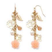 Decree® Flower and Simulated Pearl Strand Earrings