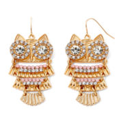 Decree® Crystal Drop Owl Earrings