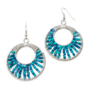 Mixit™ Aqua Seed Bead Hoop Earrings