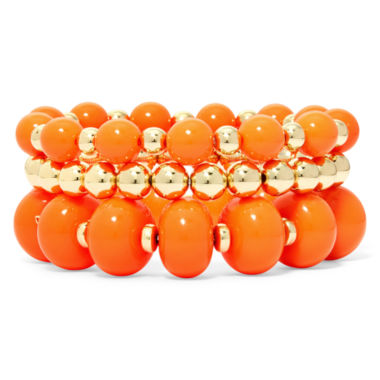 jcpenney.com | Mixit™ Orange Bead 3-pc. Stretch Bracelet Set