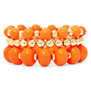Mixit™ Orange Bead 3-pc. Stretch Bracelet Set