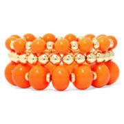 Mixit™ Orange Bead 3-pc. Stretch Bracelet Set