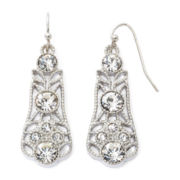 Liz Claiborne® Crystal Milgrain Drop Earrings