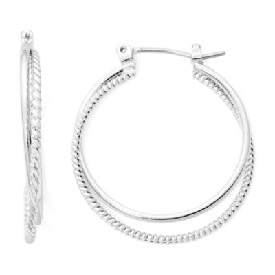 Monet Silver Tone 2 Row Hoop Earrings