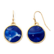 Liz Claiborne® Blue Stone Gold-Tone Drop Earrings