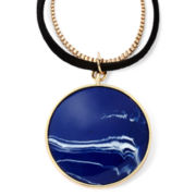 Liz Claiborne® Blue Stone Gold-Tone Pendant Necklace