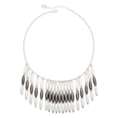 jcpenney.com | Liz Claiborne® Hematite and Silver-Tone Fringe Necklace