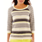 Stylus™ 3/4-Sleeve Striped Crewneck Sweater