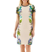 J. Taylor Cap-Sleeve Sportband-Trim Floral Print Dress