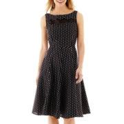 J. Taylor Sleeveless Organza-Insert Polka Dot Fit-and-Flare Dress
