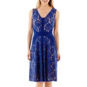 Danny & Nicole® Sleeveless Ribbed-Panel Lace Dress