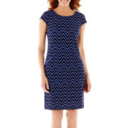 R & K Originals® Cap-Sleeve Print Shift Dress