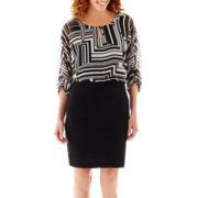 Danny & Nicole® Elbow-Sleeve Keyhole Geo Print Dress