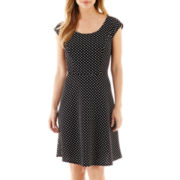 DR Collection Cap-Sleeve Polka Dot Fit-and-Flare Dress
