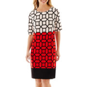 R & K Originals® Elbow-Sleeve Geo Print Colorblock Dress