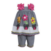 Bonnie Jean® 2-pc. Sleeveless Seersucker Dress and Pants Set - Girls 3m-24m