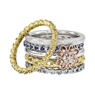 jcpenney.com | Personally Stackable Mixed Metals and Gemstone Rings