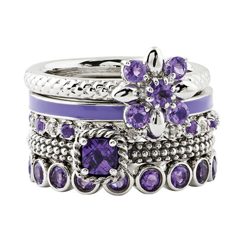 Personally Stackable Genuine Amethyst Sterling Silver Rings