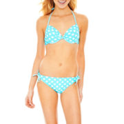 Arizona Polka Dot Underwire Push-Up Swim Top or Keyhole Bottoms - Juniors