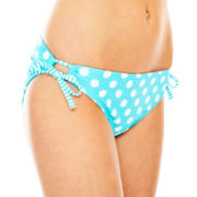 Arizona Polka Dot Keyhole Hipster Swim Bottoms - Juniors