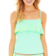 Arizona Scalloped Cutout Tankini Swim Top - Juniors