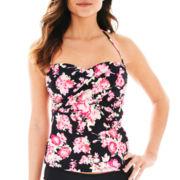 Liz Claiborne® Floral Print Bandeaukini Swim Top