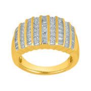 1-1/7 CT. T.W. Diamond 14K Yellow Gold Over Sterling Silver Railroad Ring