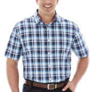 Claiborne® Short-Sleeve Woven Shirt–Big & Tall