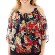 by&by 3/4-Sleeve Floral Print Cold-Shoulder Peasant Top - Plus