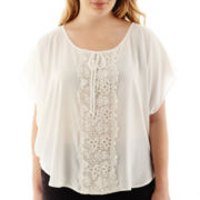 by&by Short-Sleeve Crochet-Center Top - Plus