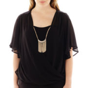by&by Elbow-Sleeve Twist-Front Necklace Top - Plus