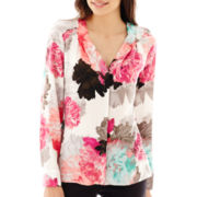 Worthington® Long-Sleeve V-Neck Crepe Blouse - Tall