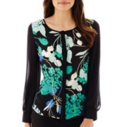 Worthington® Long-Sleeve Colorblock Blouse - Petite