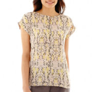 Liz Claiborne® Short-Sleeve High-Low Print Blouse