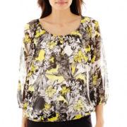 Liz Claiborne® 3/4-Sleeve Floral Print Peasant Top with Cami - Petite