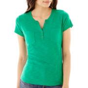 Liz Claiborne® Short-Sleeve Henley Top - Petite