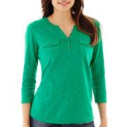 Liz Claiborne® 3/4-Sleeve Henley Top - Petite