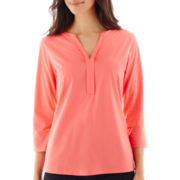 St. John's Bay® 3/4-Sleeve Split-Neck Henley