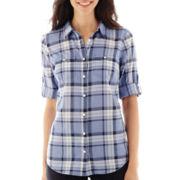 St. John's Bay® Elbow-Sleeve Roll-Tab Campshirt
