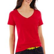 Stylus™ Short-Sleeve  V-Neck Slub T-Shirt-Petite