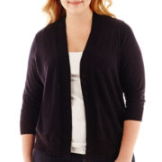 St. John's Bay® 3/4-Sleeve Open-Front Slub Cardigan Sweater - Plus